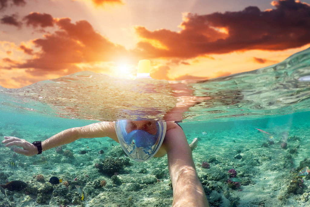 Tropical swim meditation to relax your spine and legs.